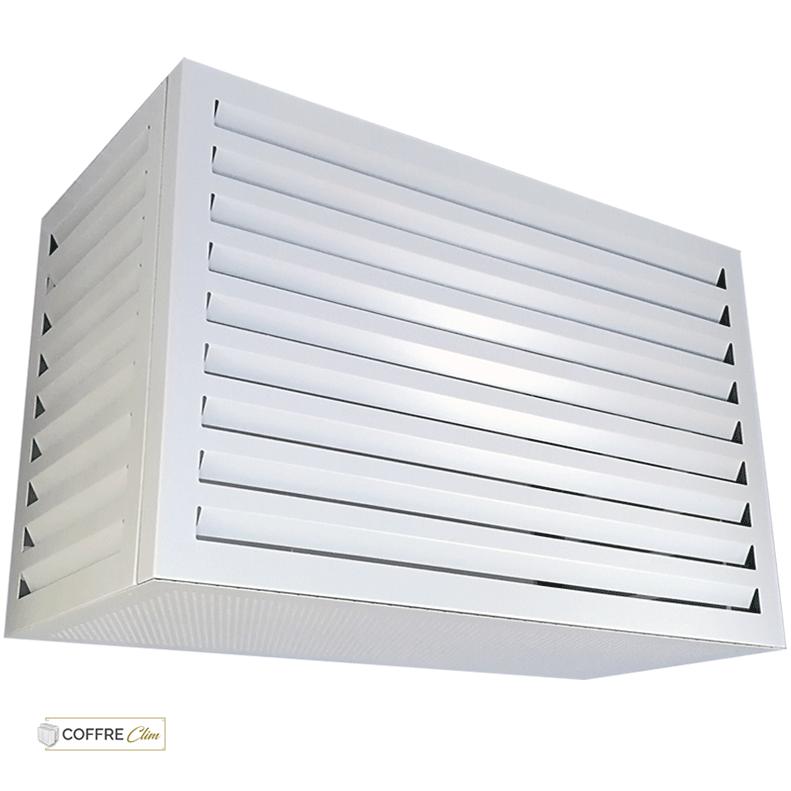 Cache climatiseur extérieur design Condor - Cache clim alu Blanc - Habillage climatiseur à lames d'air