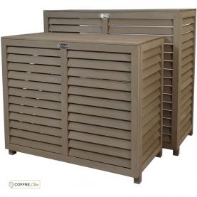 Cache climatiseur bois composite Brun, Marron, Chocolat