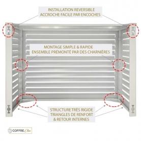 Cache climatisation extérieur Condor Blanc Aluminium - Montage réversible