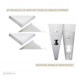 Détail construction coffre clim aluminium triangles de renfort et fixation murale renforcée