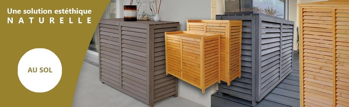 cache clim au sol design en bois composite. Black Bedroom Furniture Sets. Home Design Ideas